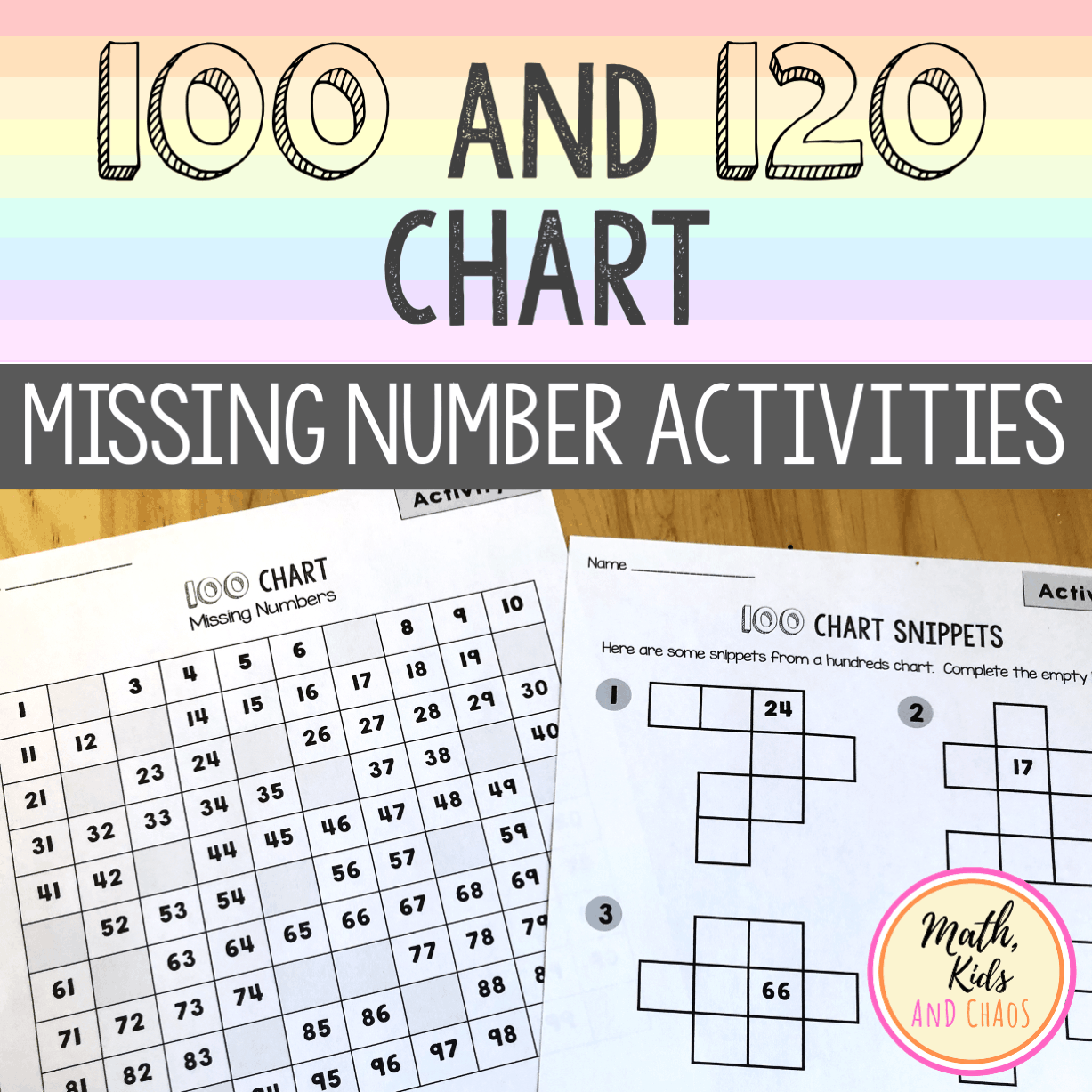 100 and 120 Chart: Missing Number Activities (product cover)