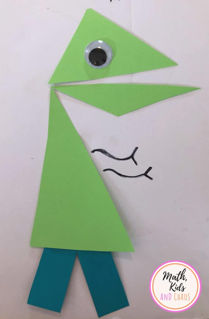 green shape character with blue legs