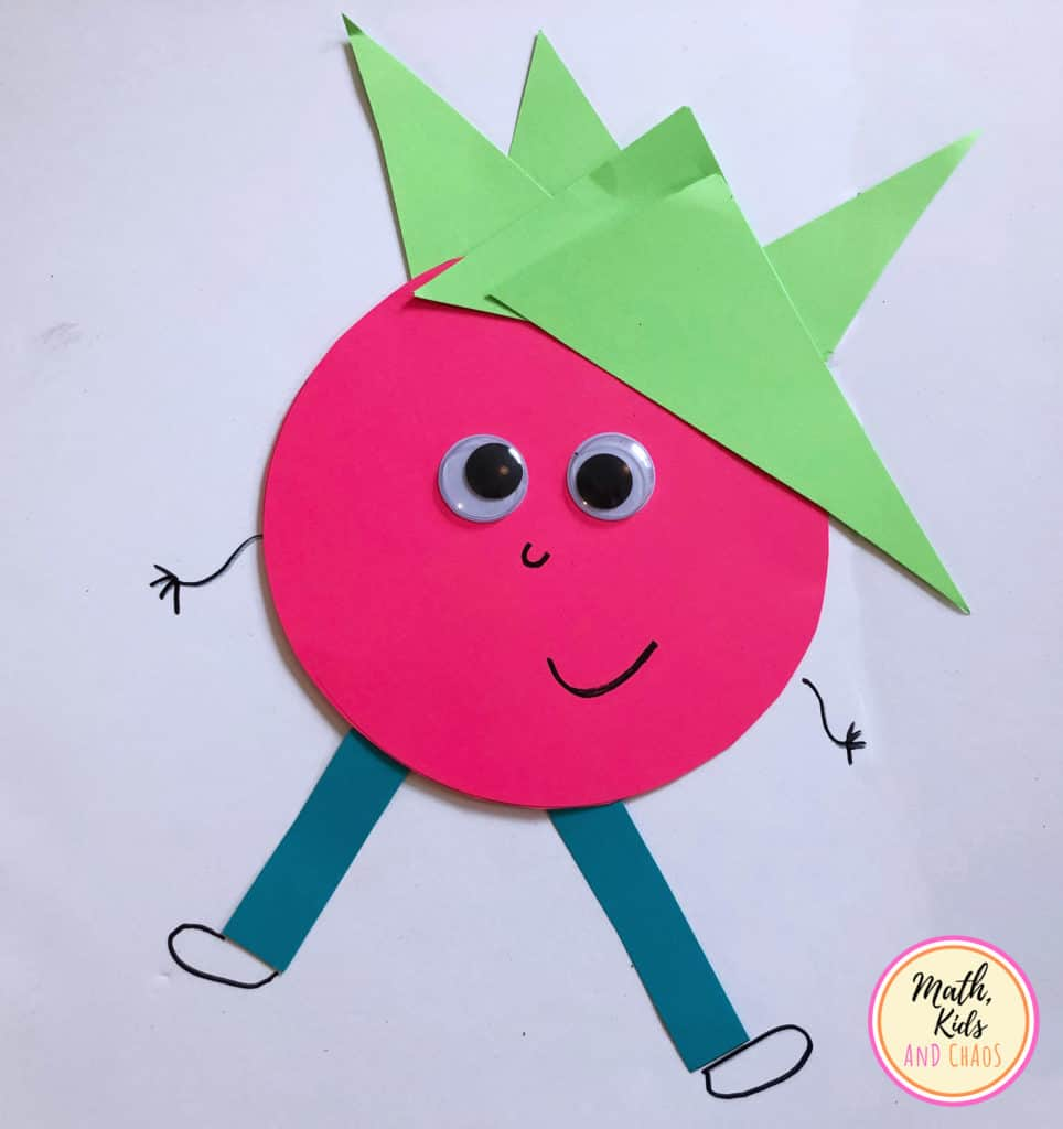 Shape person with red body and green hair