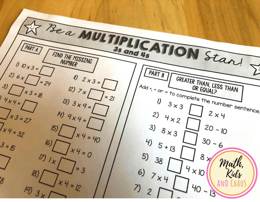 'Be a multiplication star!' multiplication worksheet