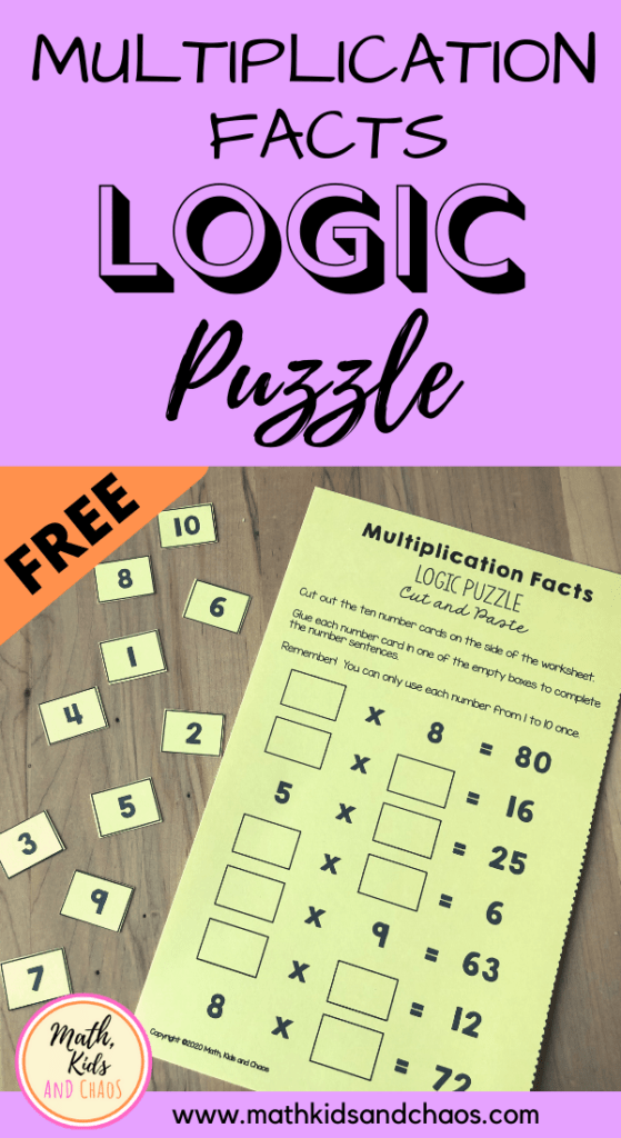 MULTIPLICATION FACTS PUZZLE PIN