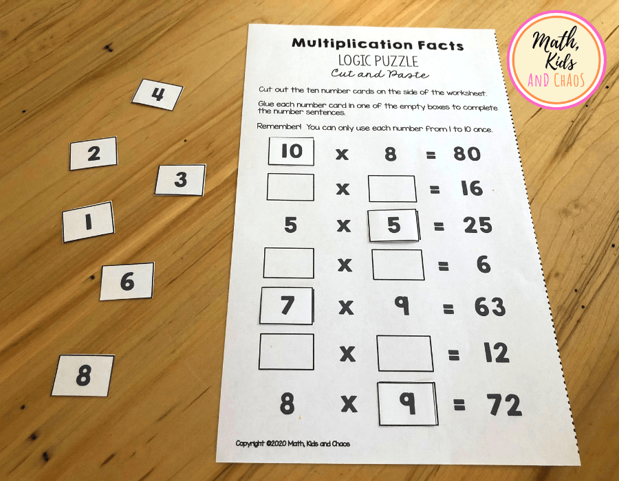 Multiplication facts printable partially completed