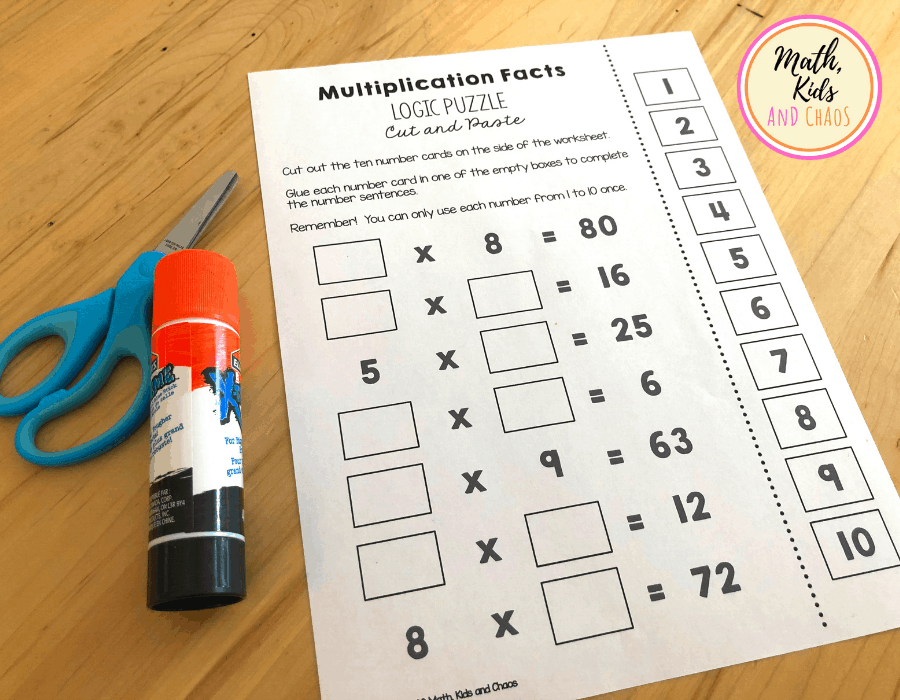 Multiplication facts puzzle printable