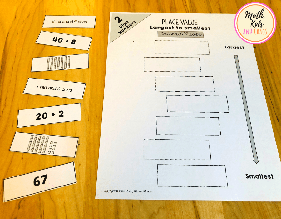 Cut and paste place value printable