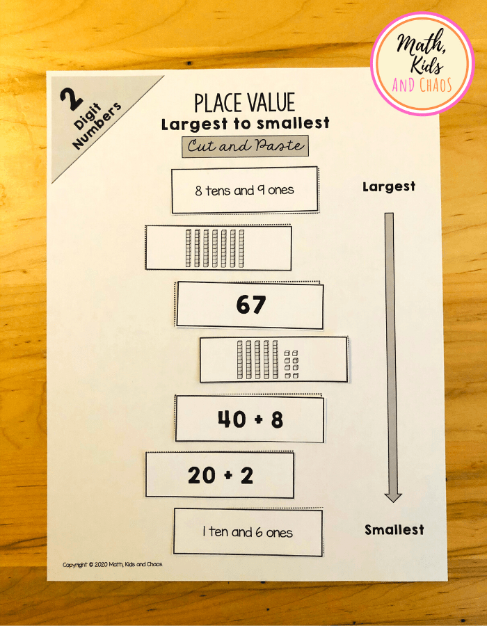 Place value printables for 2 digit numbers