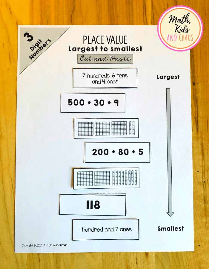 Place value printables for 3 digit numbers