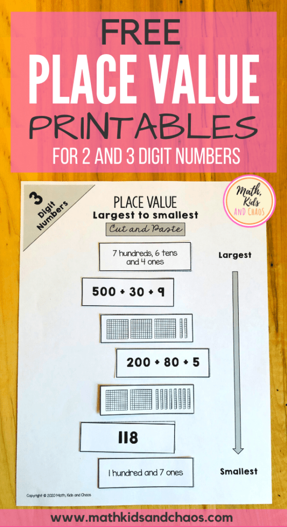 Free place value printables for 2 and 3 digit numbers