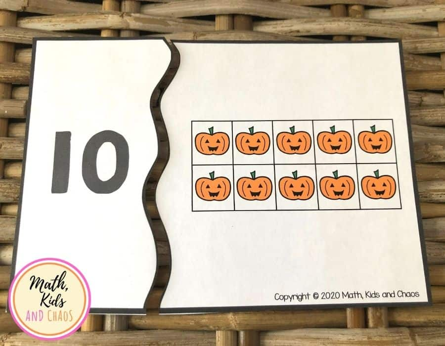Number puzzle showing 10 pumpkins in a ten frame and the numeral 10