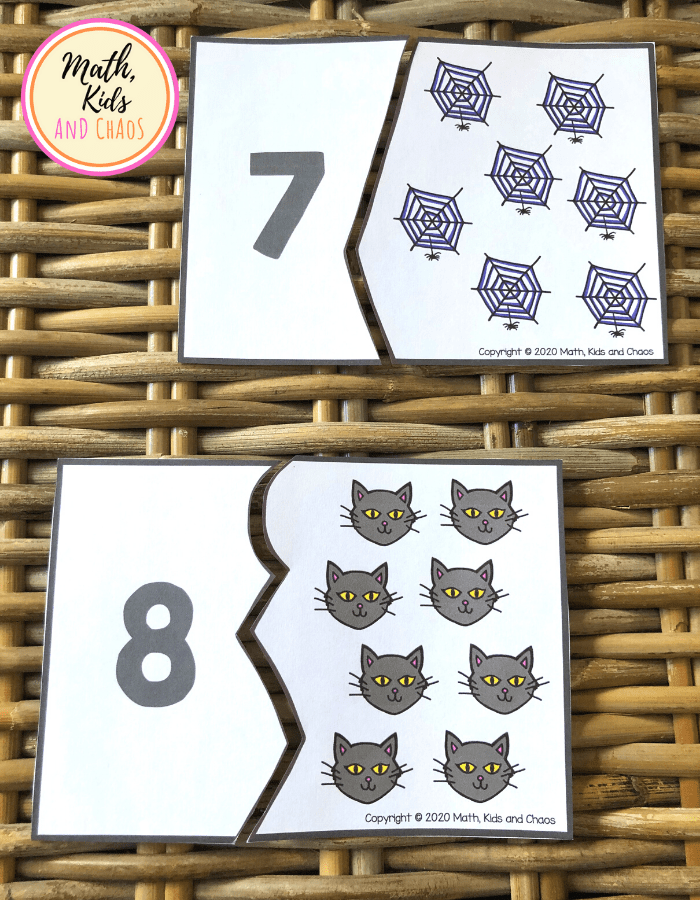 Halloween number puzzles for numbers 7 and 8