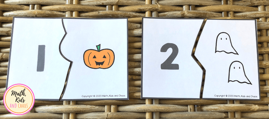 Halloween number puzzles for numbers 1 and 2.