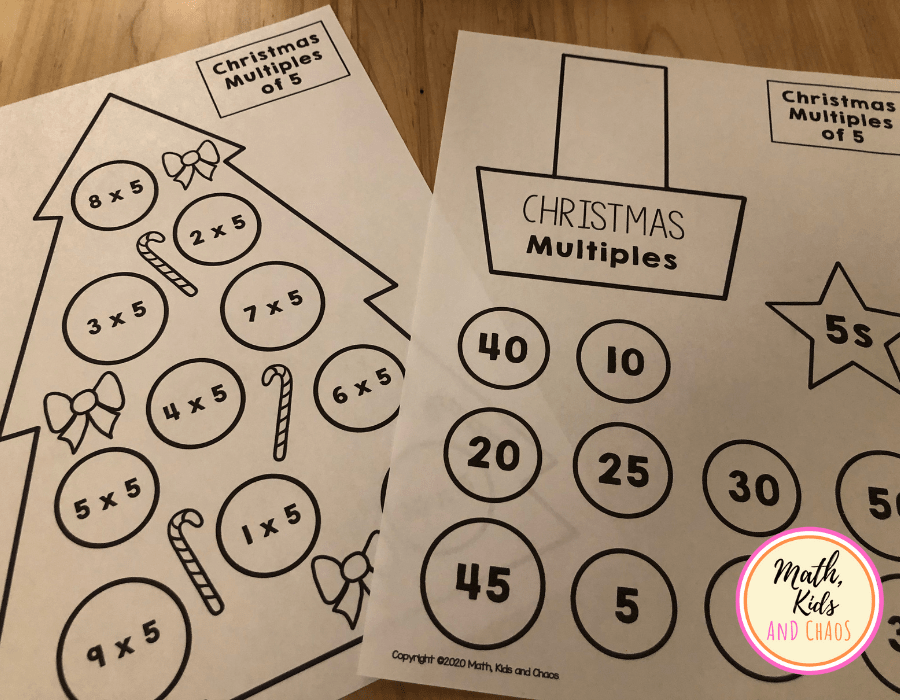 Christmas tree math craft template for multiples of 5