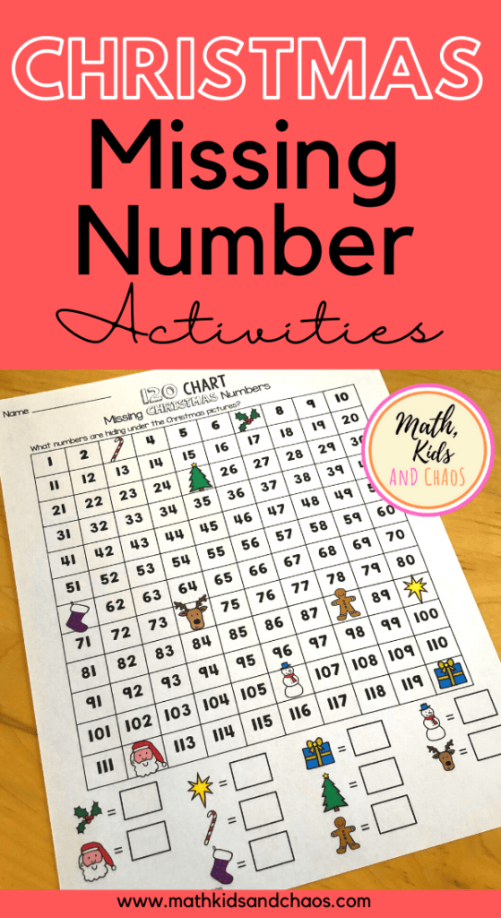 Christmas Missing Number activities for 100 and 120 charts