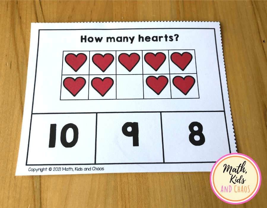 Clip card showing 9 hearts