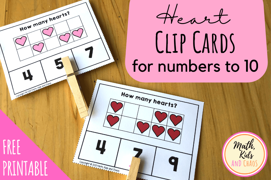 HEART CLIP CARDS FOR PRESCHOOL