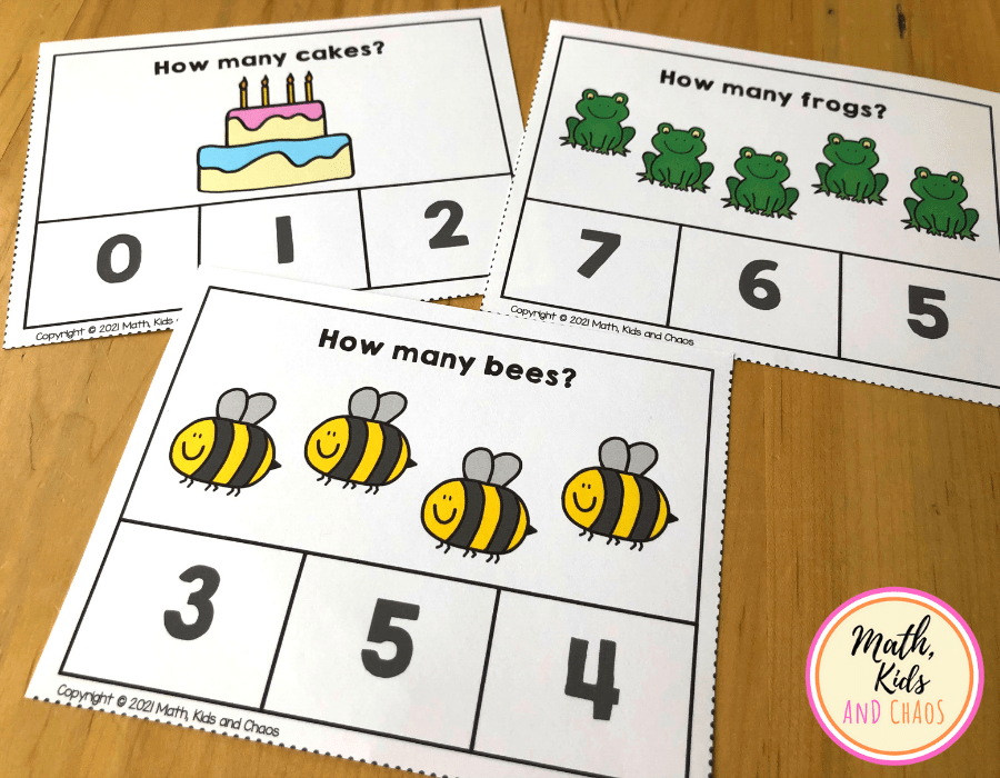 Clip cards for counting practice.
