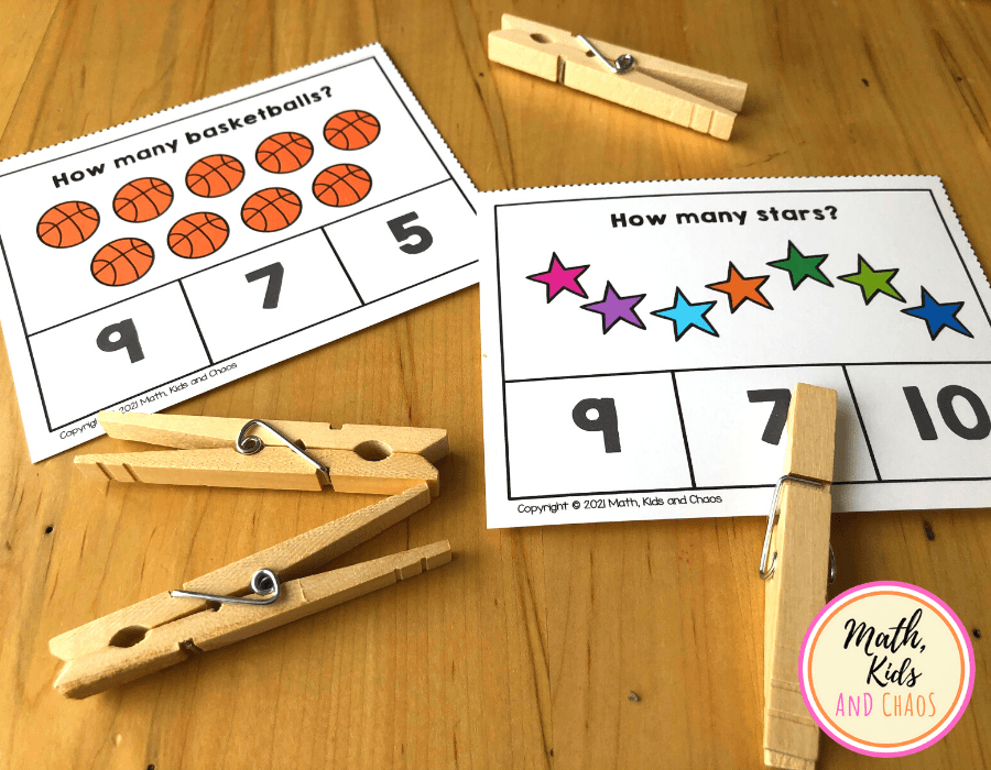 two clip cards one counting basketballs and one counting stars.