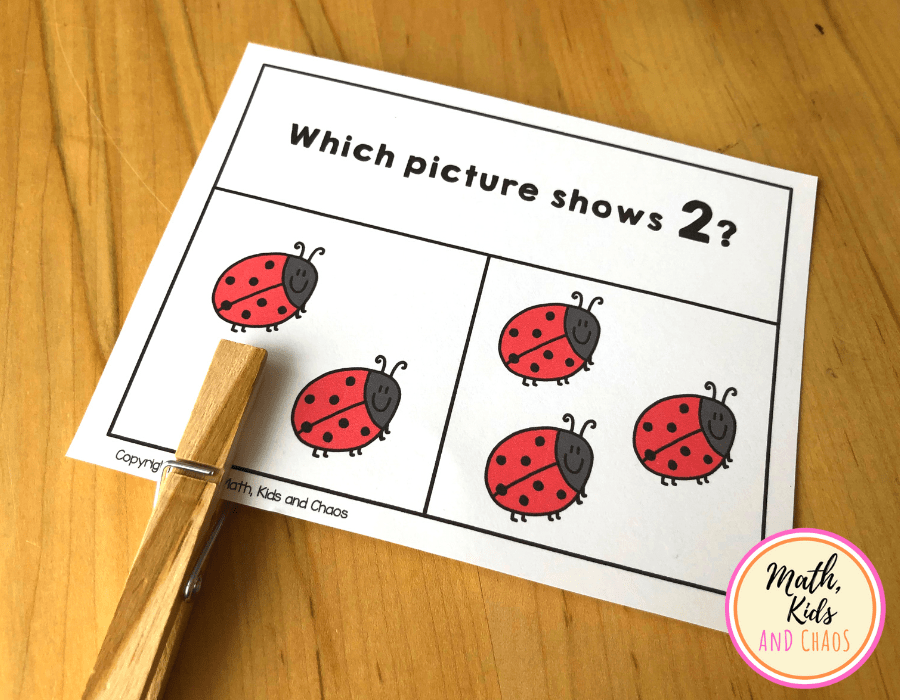 Number sense clip cards with ladybugs.