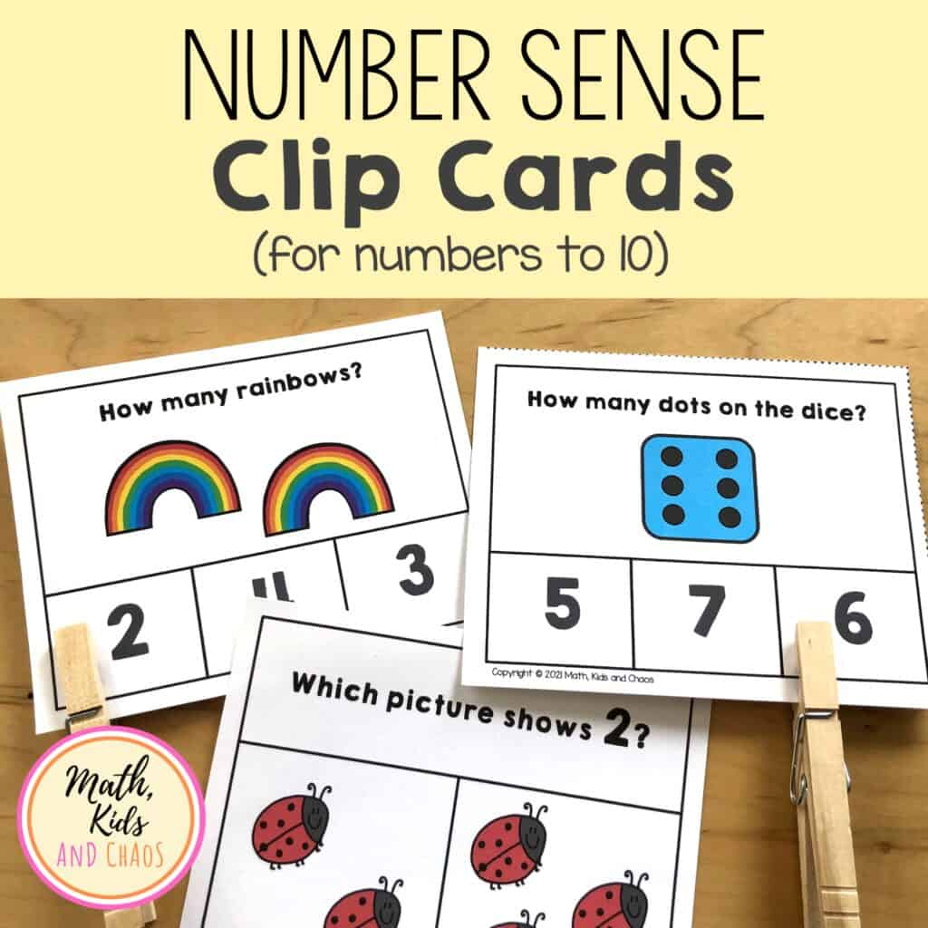NUMBER SENSE CLIP CARDS PRODUCE COVER