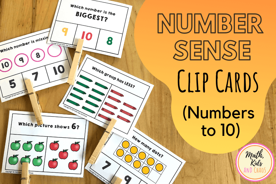 Number sense clip cards (1 to 10)