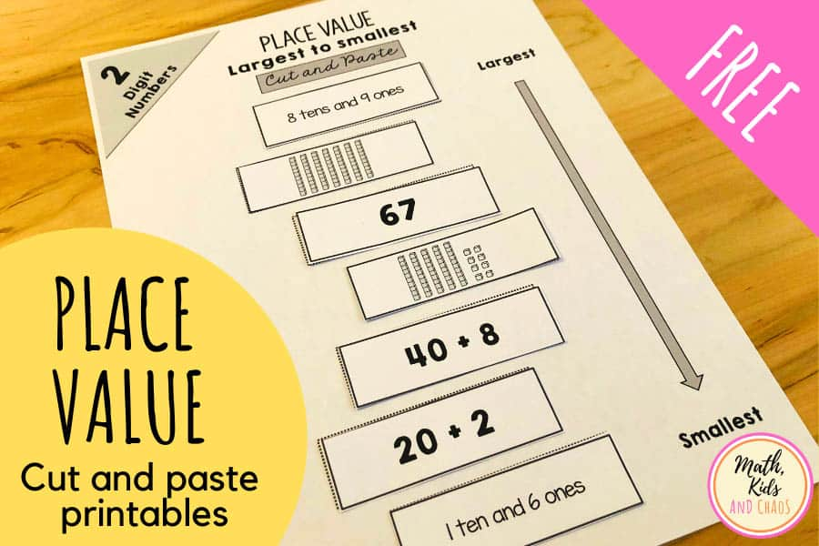 Place value printables (for 2 and 3 digit numbers)