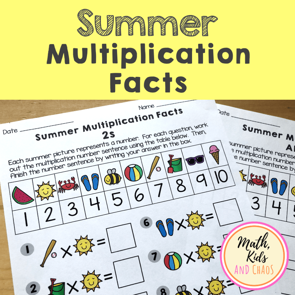 SUMMER MULTIPLICATION FACTS PRODUCT COVER