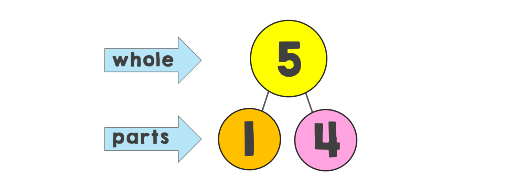 number bond showing 5 broken down into 1 and 4