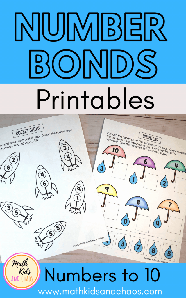 Number bonds printables by Math, Kids and Chaos
